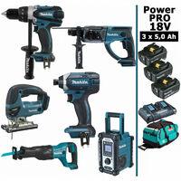 Pack Makita Power PRO 6 outils 18V: Perceuse DDF458 + Perforateur DHR202 + Visseuse à chocs DTD152 + Scie sauteuse DJV180 + Scie récipro DJR186 + Radio DMR108 + 3 batt 5Ah + sac MAKITA