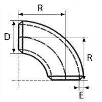 Courbe à souder 5D 90° acier noir - Ø mm (D): 21.3 - Ep. mm (E): 2 - Rayon mm (R): 52