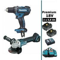Pack Makita premium 18V 5Ah: Perceuse 62Nm DDF482 + Meuleuse 125mm DGA504 + 2 batteries + sac MAK28720RTX MAKITA