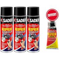 3 Colles néoprène en aérosol multi usages 500 ml SADER + OFFERT 1 tuble 125ml néoprène liquide SADER