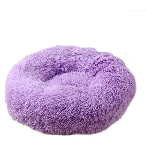 SOEKAVIA Round Plush Cat Basket for Animal Cats and Small Dogs Cat Bed Cushion Donut Dog Bed Fits Sofa XH062 (Diameter: 60, Purple)