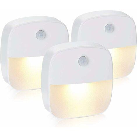 SOEKAVIA Led Night Light, Self-Adhesive Wall Night Light with Motion Detector and Light Sensor, LED Child Night Light for Nursery, Bedroom, Garage and Hallway (Warm White)