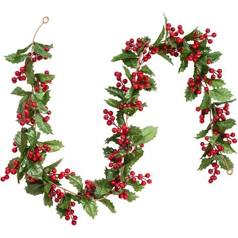 183cm berry wreath holly decoration, Christmas wreaths with pine cones and green leaves, artificial red berry wreath for the holidays, fireplace, stairs, table decoration