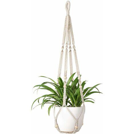 Flower Hanging Macrame Plant Holder Macrame Hanger Cotton Plant Hanger Flower Hanger Pot Hanger Flower Pot Hanger 105cm, 4 Legs Cream White