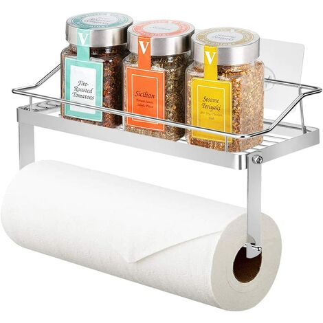 Kitchen roll holder Toilet roll holder with shelf Wallpaper roll holder for kitchen, toilet, bathroom, sticker without drilling, in stainless steel (holder with shelf) SOEKAVIA