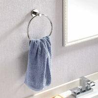 SOEKAVIA Towel Rings Wall Mounted Bathroom Towel Rack, Round Polished Stainless Steel, A2180