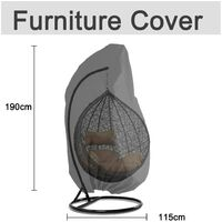 SOEKAVIA Garden Hanging Chair Cover Rattan Wicker Waterproof Hanging Chair Cover Egg Protective Cover Water and dust resistant chair - 190 X115cm, Black
