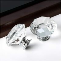 SOEKAVIA 6 Pieces Crystal Knob Diamond Handles, Door Drawer Clear Diamond Handle with Screws, Single Round Hole Drawer Knobs for Kitchen or Home Furnishing Decor - 30mm