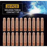 SOEKAVIA Welding Contact Tips 20pcs Copper Contact Tip for 15AK MIG / MAG Welding Torch Consumables (0.8)