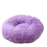 SOEKAVIA Round Plush Cat Basket for Pet Cats and Small Dogs Cat Bed Cushion Donut Dog Bed Fits Sofa XH062 (Diameter: 70, Purple)