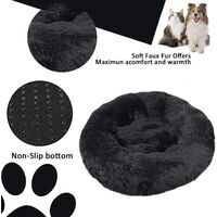SOEKAVIA Round Plush Cat Basket for Pet Cats and Small Dogs Cat Bed Cushion Donut Dog Bed Fits Sofa XH062 (Diameter: 70, Black)