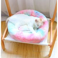 SOEKAVIA Round Plush Cat Basket for Animal Cats and Small Dogs Cat Bed Cushion Donut Dog Bed Fits Sofa XH062 (Diameter: 60, Colorful Pink)