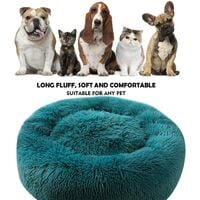SOEKAVIA Round Plush Cat Basket for Animal Cats and Small Dogs Cat Bed Cushion Donut Dog Bed Fits Sofa XH062 (Diameter: 70, Cyan)