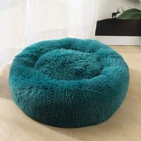 SOEKAVIA Round Plush Cat Basket for Pet Cats and Small Dogs Cat Bed Cushion Donut Dog Bed Fits Sofa XH062 (Diameter: 60, Cyan)