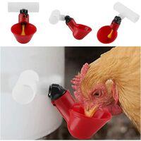 SOEKAVIA 5pcs Automatic Poultry Drinker Portable Water Dispenser Cup Plastic Water Bowl Water Drinker for Bird Quail Pigeon Chicken Hen (25mm)