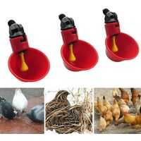SOEKAVIA Automatic Chicken Drinker Red Drinking Water Cups Handy Plastic Chicken Waterer for Birds Chicken Poultry - 5PCS