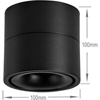 SOEKAVIA 10W LED Ceiling spotlights Ceiling light, Adjustable lamp body angle, Lamp spotlights, Ceiling spotlights, Ceiling wall light, adjustable ceiling spotlights, LED ceiling light, 10x10x10cm (Black-3000K) [Energy class A +]