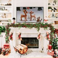 183cm berry wreath holly decoration, Christmas wreaths with pine cones Red black berries and green leaves Holly wreath for fireplace, stairs, table decoration