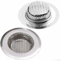 Stainless steel drain strainer, set of 2, shower strainer, Ø 9CM kitchen sink and bathtub drain strainer, 2 shower strainers