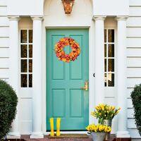 18 inch Artificial Maple Wreath for Front Door, Fall Wreath Fall Maple Leaf Door Wreath with Maple Leaf Pumpkin Pine Cone Berry for Halloween Thanksgiving Indoor or Outdoor Decor