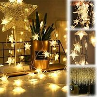 Outdoor Solar Light Chain 7M 50 LED Star Light Waterproof Warm White 8 Modes Outdoor Light Chain Waterproof Decoration for Garden, Trees, Patio, Christmas, Weddings, Parties