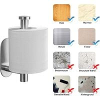 Toilet Roll Holder No Drilling, Self Adhesive Toilet Roll Holder Stainless Steel Toilet Roll Holder Toilet Paper Holder Toilet Roll Holder Toilet Roll Holder Kitchen and Bathroom Paper Holder SOEKAVIA