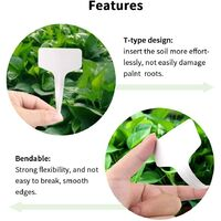 100 Pieces White Plastic T-Type Plant Markers, Durable Garden Markers Waterproof Tags Seedling Labels SOEKAVIA