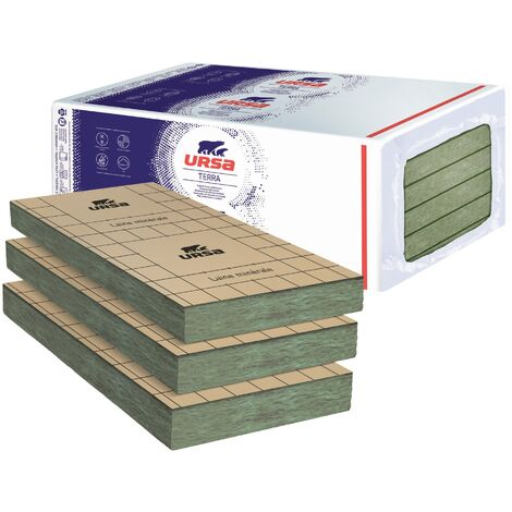 6 Paquets de 5 panneaux laine de verre URSA PRK 32 TERRA revêtu kraft - Ep. 120mm - 24,24m² - R 3.75