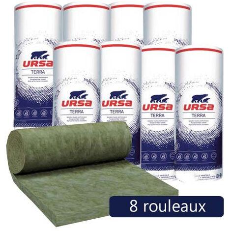 8 rouleaux laine de verre URSA Hometec 32 TERRA nu - Ep. 140mm - 25,92m² - R 4.35