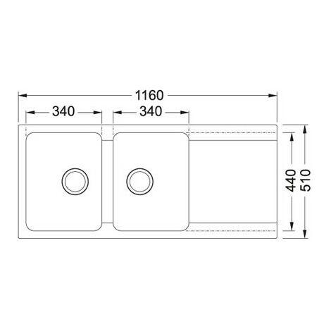 Evier ORION OID621 Carbone (sous meuble 80cm) 1160x510x190mm
