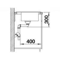 Évier en céramique Zenar 45S Noir - sous-meuble 45 cm - L 860 x l 510 x P 185 mm - Égouttoir à droite - Blanco
