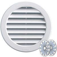 Grille ventilation PVC ronde + fermeture - Ext. Ø224mm - Tube Ø200mm