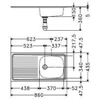 Evier EUROSET ESX611-86 Inox (sous meuble 50cm) 860X435X150mm