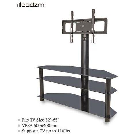 """Leadzm TSG002 32-65"""" Corner Floor TV Stand with Swivel Bracket 3-Tier Tempered Glass Shelves"""
