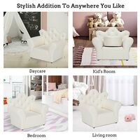 Kids Children Sofa Seat Armchair Lounger Couch Furniture with Footstool - White - White