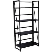 Folding Bookshelf Home Office Industrial Bookcase Wooden Storage Shelves Vintage 4 Tiers Book Rack Organizer