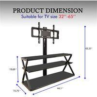 """Leadzm TSG001 32-65"""" Corner Floor TV Stand with Swivel Bracket 3-Tier Tempered Glass Shelves"""