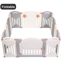 14 Panel Baby Safety Play Yards Kids Folding Playpen Activity Center Fence