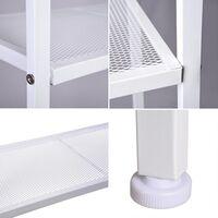 4-Tier Vintage Ladder Shelf Bookcase Storage Rack Stand Plants Display - White - White