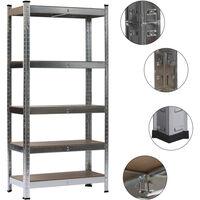Heavy Duty 5 Tier Metal Galvanized Shelving Rack Unit Garage Storage Shelf Silver
