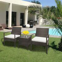3PC Outdoor Rattan Bistro Set Furniture Garden Coffee Table Wicker Brown Gradient