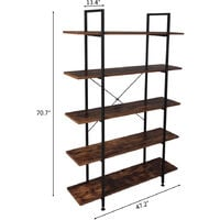 5-Tier Industrial Bookcase and Book Shelves, Vintage Wood and Metal Bookshelves, Retro Brown