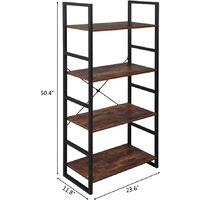 4 Tier Vintage Bookcase Shelf Storage Organizer Wood and Metal Bookshelf Rack