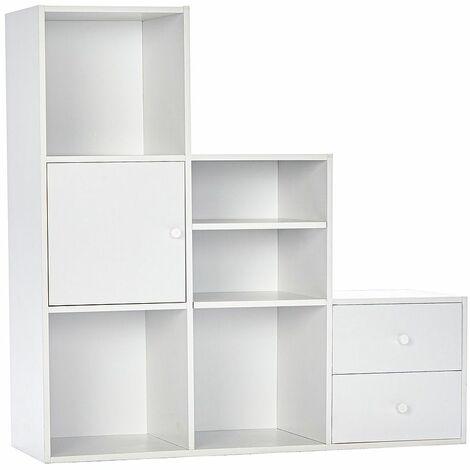 Meuble Étagére Blanc escalier 3 étages - Meuble de rangement cube avec portes tiroirs - Bliblioteque sejour salon 90,5 x 29 x 90,5cm - Blanc