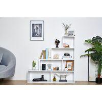 Meuble Étagére Blanc escalier - Meuble de rangement cube 4 étages , 6 compartiments - bliblioteque sejour salon - 114x30x114cm - Blanc