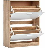 Meuble à chaussures à 2 abattants Blanc, 12 paires, 24 chaussures, Armoire Cadre Bois clair - Facile à installer - 60x24x80cm - Blanc