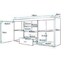 Sideboard 2 Türen 2 Schuhbladen – Glänzendes Melamin Schwarz Aluminiumgriffe – 140 x 80 x 40cm – SIDEBOARD ROQUE
