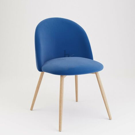 Pudsey Velvet Dining Chair - Set of 2 With Wooden Legs, Blue
