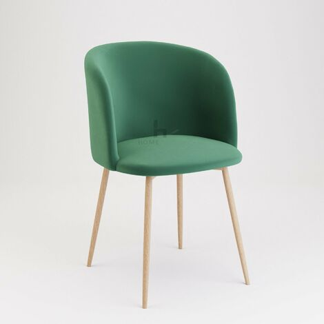 Andover Green Velvet Dining Chair With Wooden Legs - Set of 2