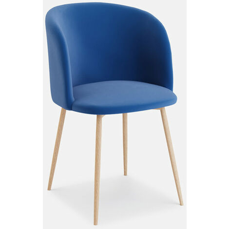 Andover Blue Velvet Dining Chair With Wooden Legs - Set of 2